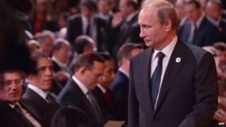 Russian President Vladimir Putin and other leaders at the G20 Summit in Brisbane, Australia, 15 November 2014