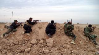 Iraqi troops and Shia volunteers near Amerli, northern Iraq - 26 November