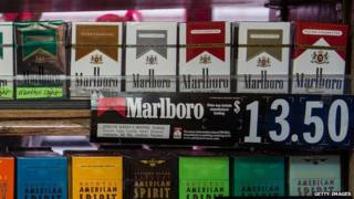 Cigarettes on display at a New York city store.