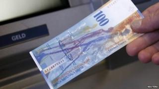 Swiss 100 franc note and cash machine