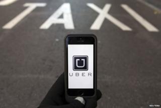 Uber app and Taxi rank