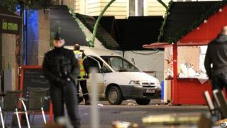 Scene in Nantes after van hit pedestrians. 22 Dec 2014