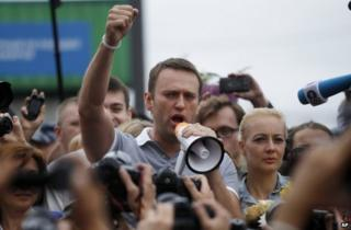 Alexei Navalny after release from jail in July 2013