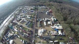 Aerial view of the Plantation caravan site in Newchapel, Surrey