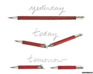 Cartoon showing a pencil which is broken therefore creating two pencils