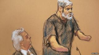 A courtroom sketch shows Abu Hamza, 56, with his defence lawyer Sam Schmidt 9 January 2015