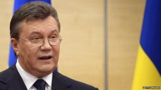 Deposed Ukrainian President Viktor Yanukovych speaks in Rostov-on-Don in Russia (March 2014)