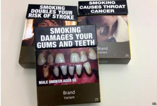 Some examples of standardised cigarette packs used in Australia, taken on 3 April 2014.