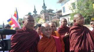 Wirathu (C) pictured on 20 January