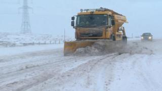 Snow plough on A66 in Cumbria