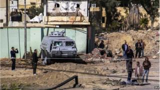 Site of attack in Al-Arish, Sinai, 30 January 2015