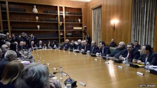 The first cabinet meeting for the new Greek Syriza-led government. The left-wing party came under fire from Spain for its lack of women in top posts.