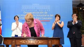 President Bachelet signs bill proposing the end of a total ban on abortions