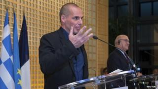 Yanis Varoufakis with French Finance Minister Michel Sapin - 1 February