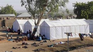 Tents in a refugee camp in Nigeria