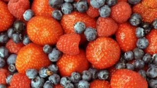 Summer fruit - strawberries, raspberries and blueberries