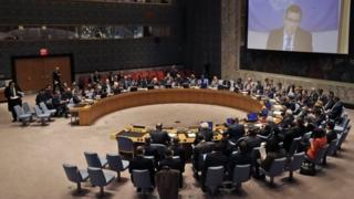 A UN Security Council meeting on the situation in Libya, 18 February 2015.