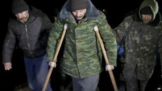 Ukrainian prisoners march to the prisoner exchange - 21 February