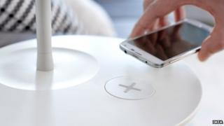 Ikea table with charge point