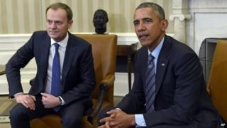 Obama spoke to reporters about the letter during a meeting with European Council President Donald Tusk