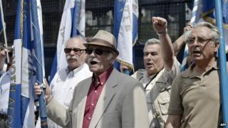 group of elderly German and Greek protesters