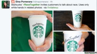 Tweet of pictures of white hands holding 'race together' Starbuck cups