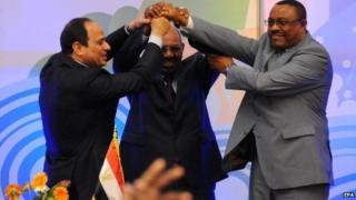 The leaders of Egypt, Sudan and Ethiopian in Khartoum on 23 March 2015