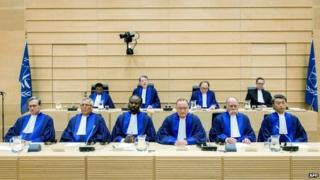 Judges sit during a swearing-in ceremony at the International Criminal Court (ICC) at The Hague on 10 March 2015