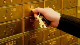 Hand unlocking safe deposit box