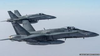 Two Canadian CF-18s struck an Islamic State garrison near Raqqa, Syria