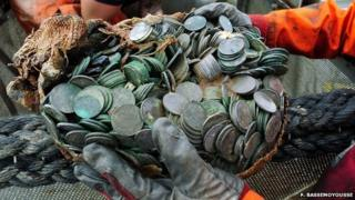 Silver coins from salvage of City of Cairo
