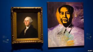 Portraits of George Washington and Chairman Mao side by side