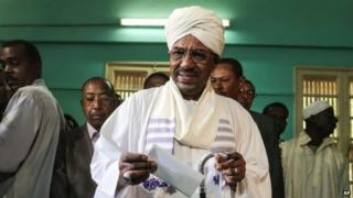 President Omar al-Bashir casts his ballot in April's elections