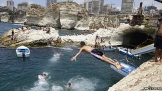 Lebanese man dives into sea off Beirut (file photo)