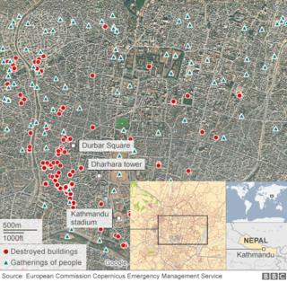 building damage in Kathmandu following Nepal earthquake