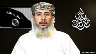 A file image grab taken off a propaganda video posted online on January 14, 2015 showing Nasser bin Ali al-Ansi