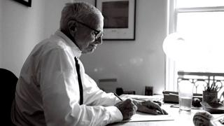 William Zinsser working in his office in mid-Manhattan