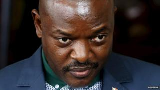 President Pierre Nkurunziza of Burundi speaking to journalists in Bujumbura, 17 May 2015