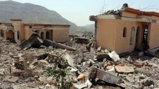 Destroyed buildings in Ibb, southern Yemen. Photo: 13 May 2015