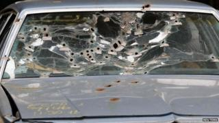 Windscreen of car in Cleveland shootings, file pic