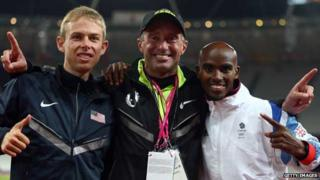 Alberto Salazar with Galen Rupp (left) and Mo Farah