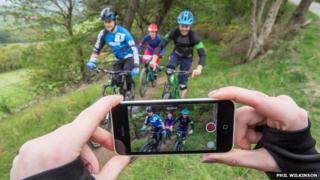 Bikers filmed on mobile phone