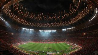 Fireworks explode as the Spain team celebrate victory in World Cup 2010 FIFA World Cup final at Soccer City Stadium on 11 July 11, 2010 in Johannesburg