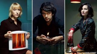 Lia Williams (left), Ben Whishaw (centre) and Kate Fleetwood (right) star in the Almeida season of ancient Greek plays
