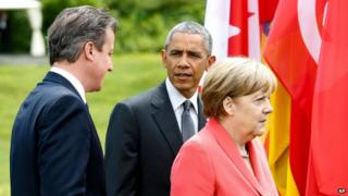 Angela Merkel, Barack Obama, David Cameron at the G7 summit (8 June 2015)