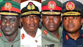 From left to right: Chief of Army Staff, Maj-Gen TY Buratai, Chief of Naval Staff Rear Admiral Ibok-Ete Ekwe Ibas, Chief of Defence Staff Maj-Gen Abayomi Gabriel Olonishakin, - Chief of Air Staff Vice Marshal Sadique Abubakar