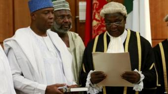 Bukola Saraki takes the oath of office as the senate president in Nigeria - 9 June 2015