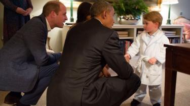 Prince George meeting Barack Obama