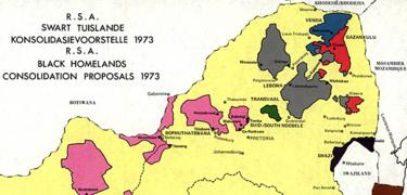 South Africa Homelands map, 1973