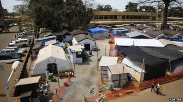 The Medecins Sans Frontieres Ebola treatment centre in the grounds of Donka Hospital, Guinea